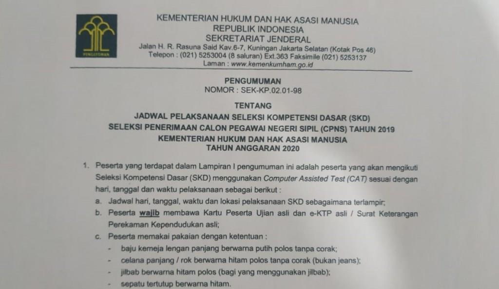 Kemenkumham Rilis Jadwal Dan Lokasi Skd Cpns 2019 Bengkulu Di